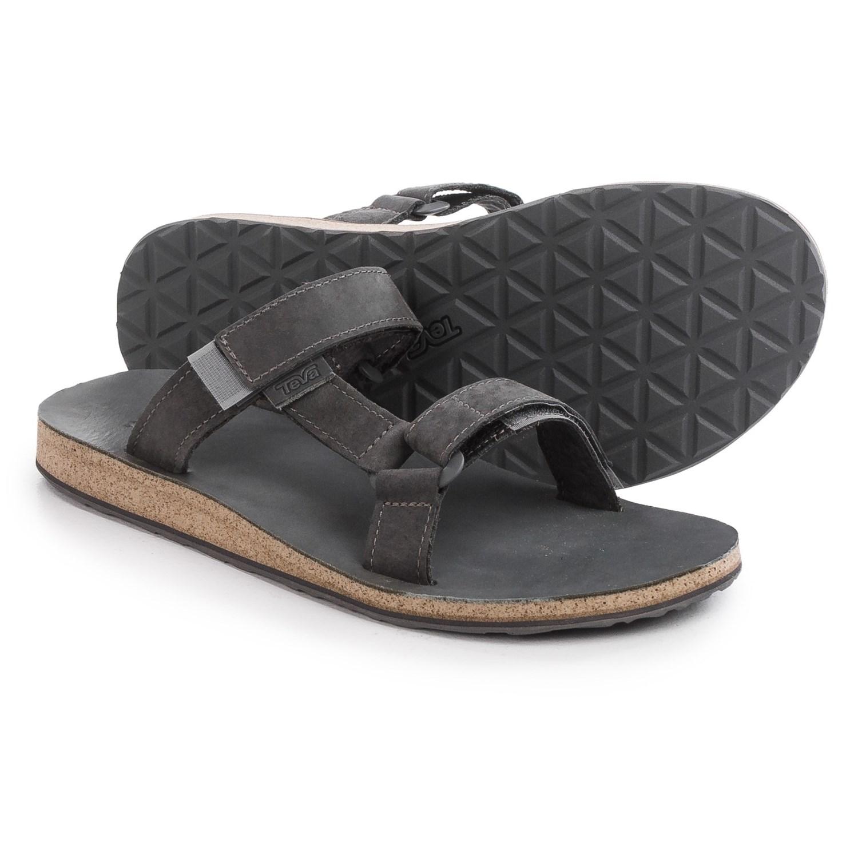 ec20fd277 Teva Olowahu Flip Flop Sandals - Womens Black  Teva Universal Slide Sandals  - Leather (For Men) in Grey .