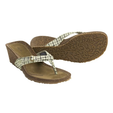 Teva Ventura Thong Wedge Sandals (For Women) in Plaid Green