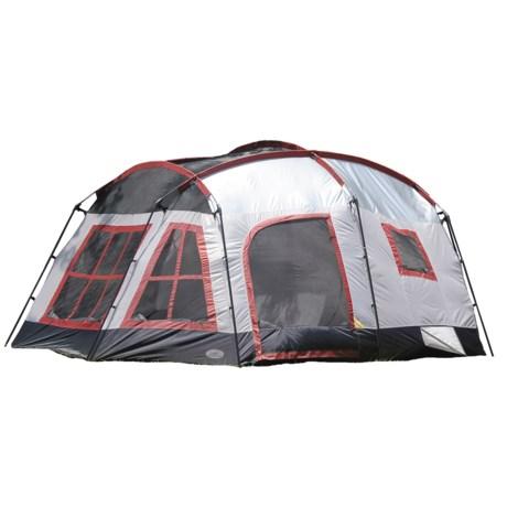 Texsport Highland Three-Room Tent - 8-Person, 3-Season in Gray/Maroon