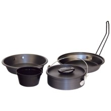 Texsport Pathfinder Black Ice Anodized Aluminum Mess Kit - 4-Piece in Black - Closeouts