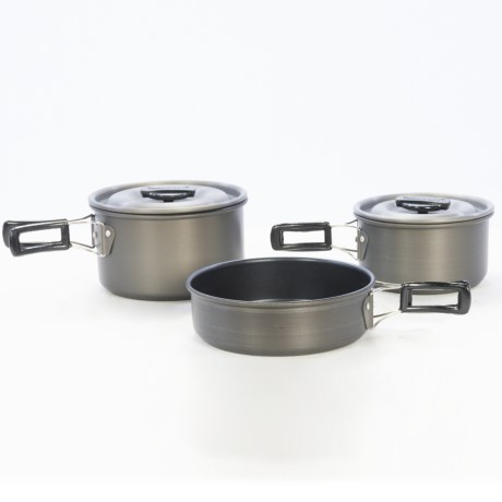 Texsport The Scouter Black Ice Anodized Mess Kit - Five Piece in Pewter