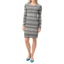 Textured Cotton Dress - Fully Lined, Long Sleeve (For Women) in Black Geometric - 2nds