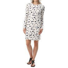 Textured Cotton Dress - Fully Lined, Long Sleeve (For Women) in Navy Dot - 2nds