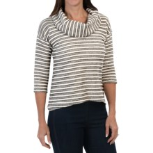 Textured Cowl Neck Knit Shirt - Long Sleeve (For Women) in Black/Cream - 2nds