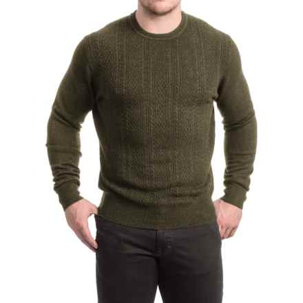 Textured Crew Neck Sweater (For Men) in Olive - 2nds