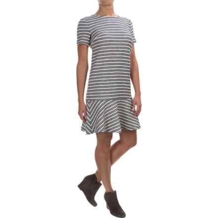 Textured Stripe Flip Skirt Dress - Sleeveless (For Women) in Grey/Navy/Ivory Stripe - 2nds