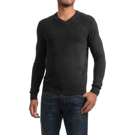 Textured V-Neck Sweater (For Men) in Black - 2nds