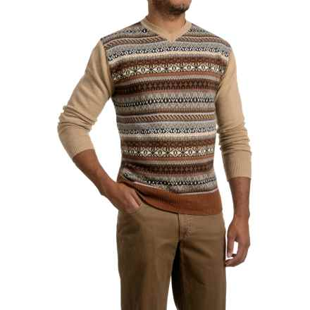 Textured V-Neck Sweater (For Men) in Burnt Orange Geo - 2nds