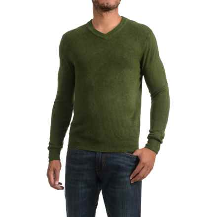 Textured V-Neck Sweater (For Men) in Green - 2nds