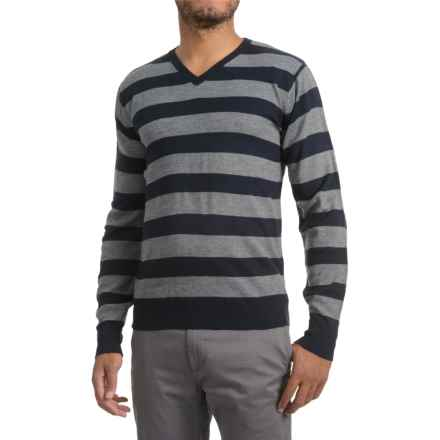 Textured V-Neck Sweater (For Men) in Grey/Blue Stripe - 2nds