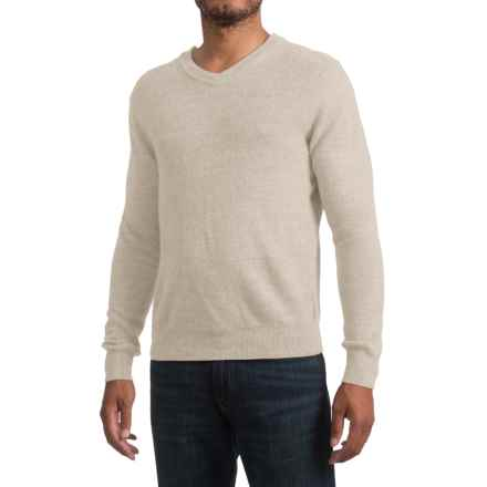 Textured V-Neck Sweater (For Men) in Khaki - 2nds