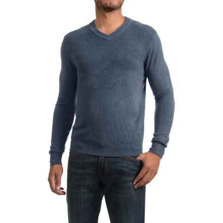 Textured V-Neck Sweater (For Men) in Light Blue - 2nds