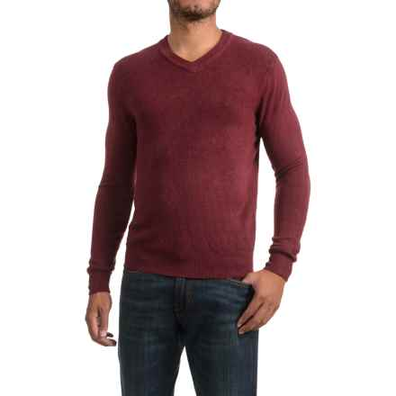 Textured V-Neck Sweater (For Men) in Mulberry - 2nds