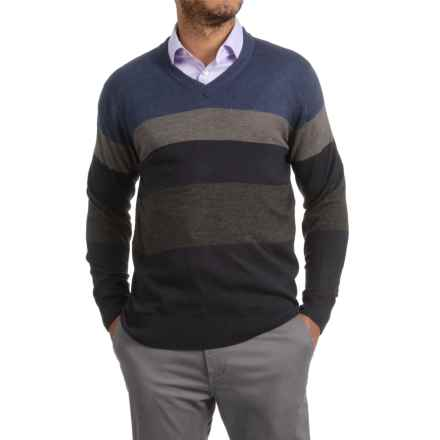 Textured V-Neck Sweater (For Men) in Navy/Blue/Grey - 2nds