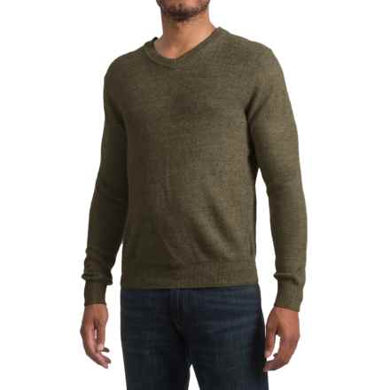 Textured V-Neck Sweater (For Men) in Olive - 2nds