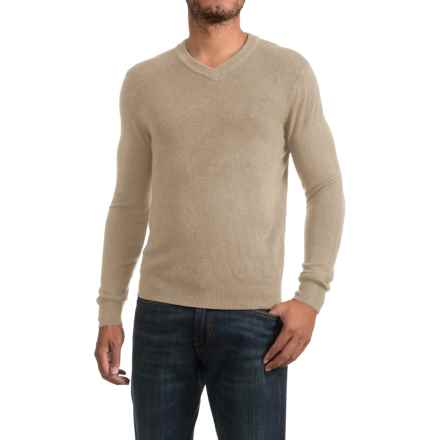 Textured V-Neck Sweater (For Men) in Sand - 2nds