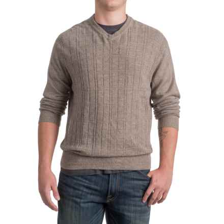 Textured V-Neck Sweater (For Men) in Taupe - 2nds