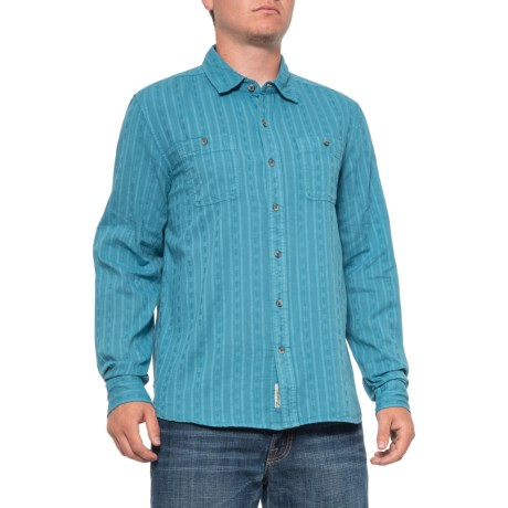 The Dude Cotton Dobby Shirt - Long Sleeve (For Men) - POOL BLUE (L )