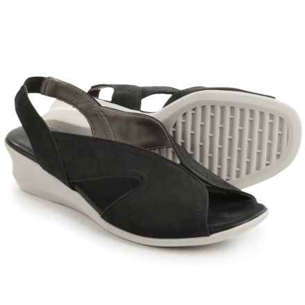 The Flexx Charlee Slingback Shoes - Nubuck, Wedge Heel (For Women) in Black Nubuck - Closeouts