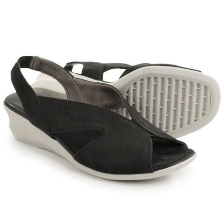 The Flexx Charlee Slingback Shoes - Nubuck, Wedge Heel (For Women) in Black Nubuck