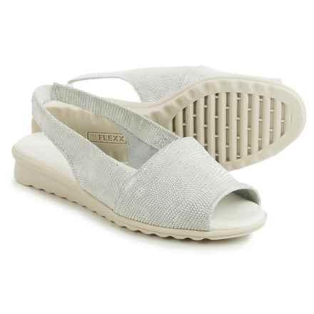 The Flexx Fantazee Sandals - Leather, Mini Wedge Heel (For Women) in White Ariel Macchiato - Closeouts