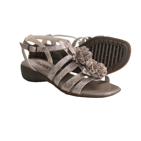 The Flexx I'm Glad Sandals - Metallic Snake Print (For Women) in Gold