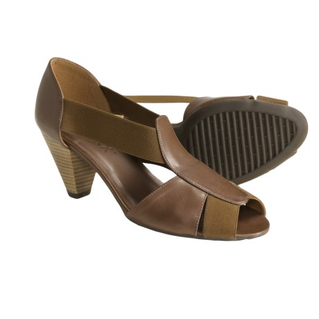 The Flexx Lady-T Leather Pumps - Peep Toe (For Women) in Taupe