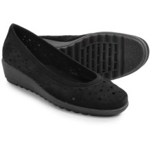 The Flexx Run Perfed Shoes - Nubuck, Slip-Ons (For Women) in Black Nubuck - Closeouts
