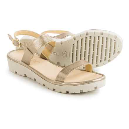 The Flexx Sun Tan Strappy Sandals - Leather (For Women) in Gold Tris - Closeouts