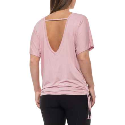 The Free Yoga Ruched V-Back Shirt - Short Sleeve (For Women) in Pink