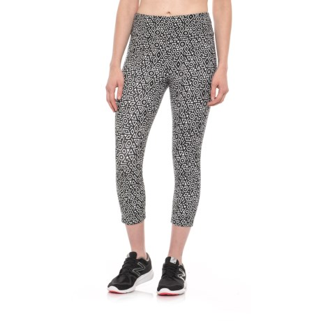 The Girls Geo-Print Capri Leggings - Tummy Control (For Women) in Black Geo Print