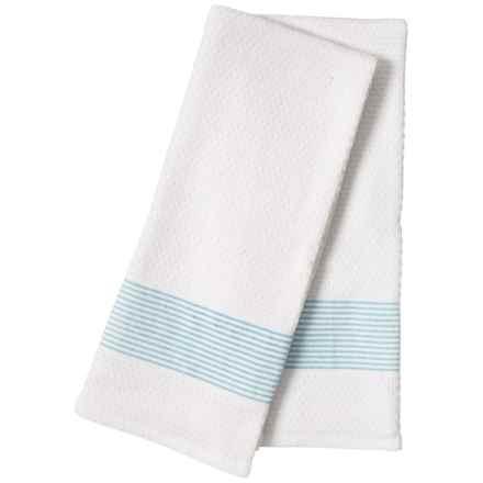 """The Good Book White-Aqua Striped Kitchen Towels - 18x28"""", Set of 2 in White/Aqua"""