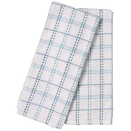 "The Good Book White-Blue Kitchen Towels - 18x28"", Set of 2 in White Blue"