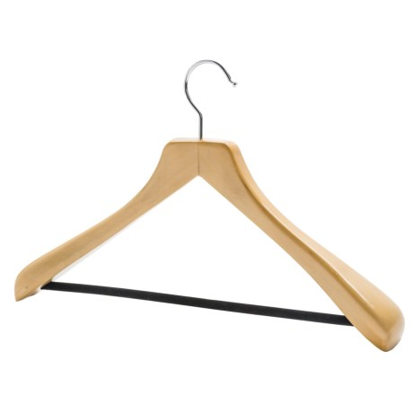 The Great American Hanger Company Wooden Suit Hanger--Non-Slip Bar, 6 pack in Natural W/Felt Bar