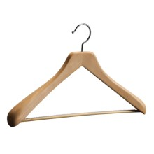The Great American Hanger Company Wooden Suit Hanger--Non-Slip Bar, 6 pack in Natural - Closeouts