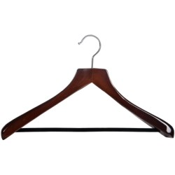 The Great American Hanger Company Wooden Suit Hanger--Non-Slip Bar, 6 pack in Walnut W/Felt Bar