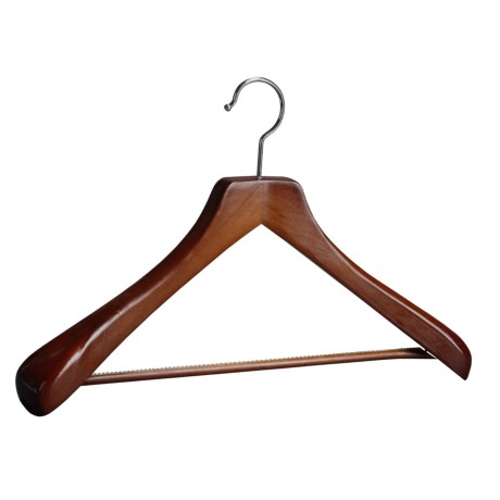 The Great American Hanger Company Wooden Suit Hanger--Non-Slip Bar, 6 pack in Walnut W/Felt Bar