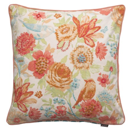 The Hive Finola Bird French Knot Canvas Decor Pillow   20x20u201d, Duck Feathers  In