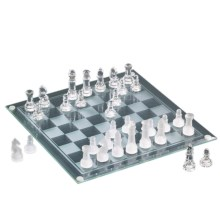 The Jay Companies Glass Chess / Checkers Game Set - 2-in-1 in Clear - Overstock
