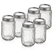 The Jay Companies Quilted Glass Jars - Set of 6 in Clear - Overstock