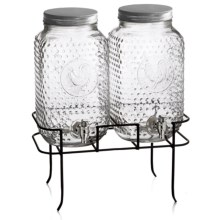 The Jay Companies Rooster Beverage Dispensers and Rack - 3 Gal., Set of 2 in Clear - Overstock