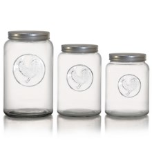 The Jay Companies Rooster Canisters - Set of 3 in Clear - Overstock