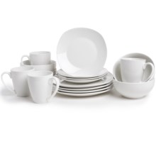 The Jay Companies Waverly Geometry Dinner Set - Porcelain, 16-Piece in White - Closeouts