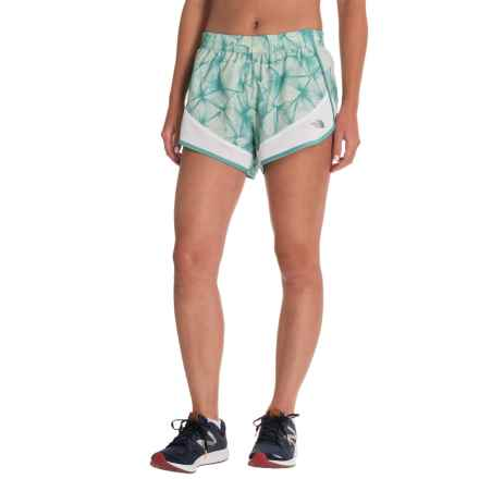 The North Face Altertude Hybrid Running Shorts - Built-In Brief (For Women) in Agate Green Linear Floral Print/Tnf White - Closeouts