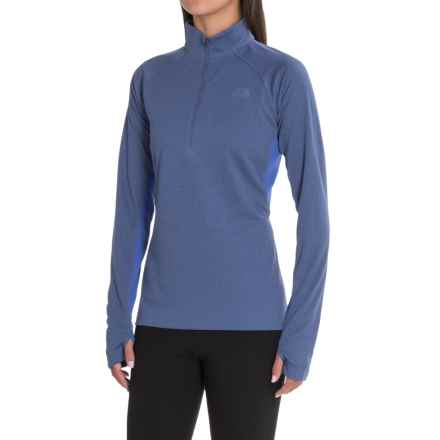 The North Face Ambition Shirt - Zip Neck, Long Sleeve (For Women) in Coastal Fjord Blue Heather/Amparo Blue - Closeouts