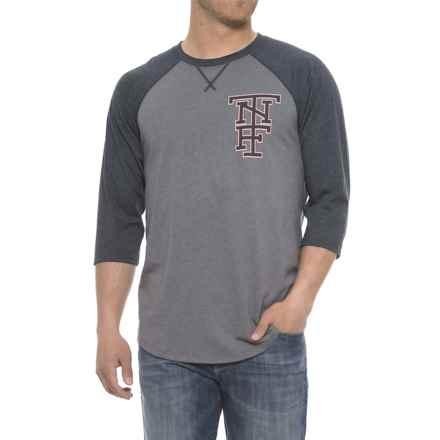 The North Face Americana Baseball Sleeve T-Shirt - Long Sleeve (For Men) in Medium Grey Heather/Urban Navy - Closeouts