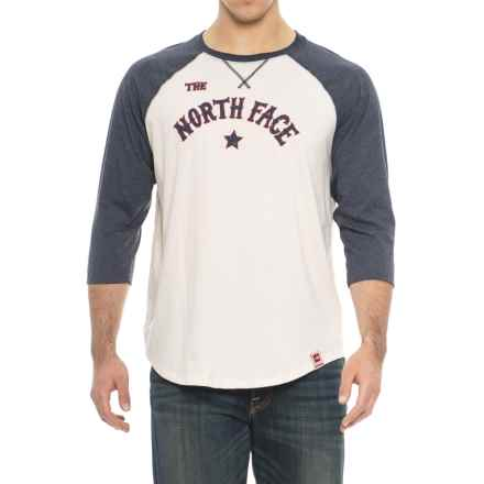 The North Face Americana Baseball Sleeve T-Shirt - Long Sleeve (For Men) in Vintage White/Urban Navy - Closeouts