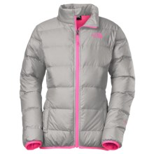 The North Face Andes Down Jacket - 550 Fill Power (For Little and Big Girls) in Metallic Silver/Gem Pink - Closeouts