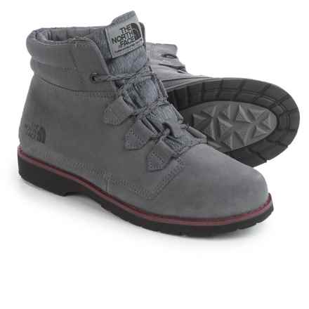 The North Face Ballard Roll Down Boots - Waterproof, Insulated, Suede (For Women) in Smoked Pearl Grey/Deep Garnet Red - Closeouts
