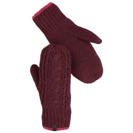 The North Face Cable-Knit Mittens (For Women) in Deep Garnet Red/Cerise Pink - Closeouts